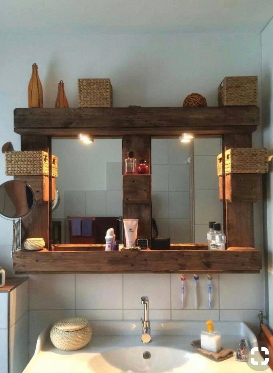 Espejos de madera rusticos en mercado libre for Espejos de bano rusticos de madera