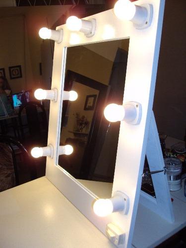 espejos de maquillaje 70 x 60  con 7 luces led. transportable o colgar camerinos,estilo hollywood, makeup todoespejos