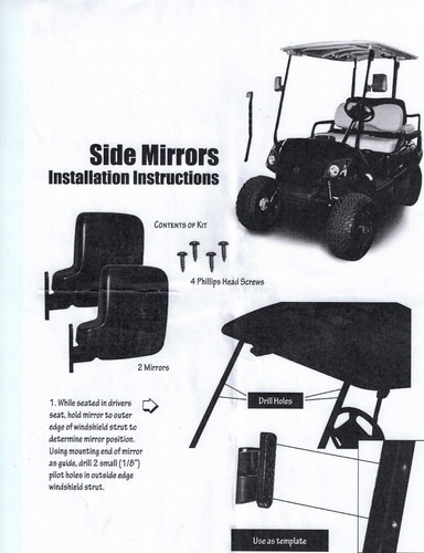 espejos laterales del carro de golf 1 par 2 espejos para el