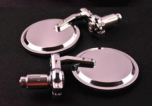 espejos para puños redondos cromados moto manillar 7/8 metal