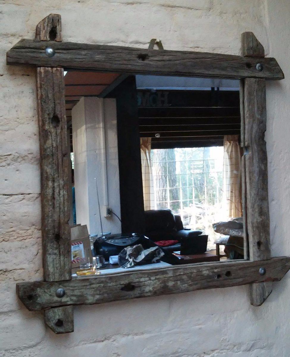 Espejos rusticos en madera de pique antigua for Espejos redondos de madera