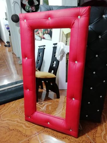 espejos tapizado en capitonee de lujo diseño y color 80x80cm