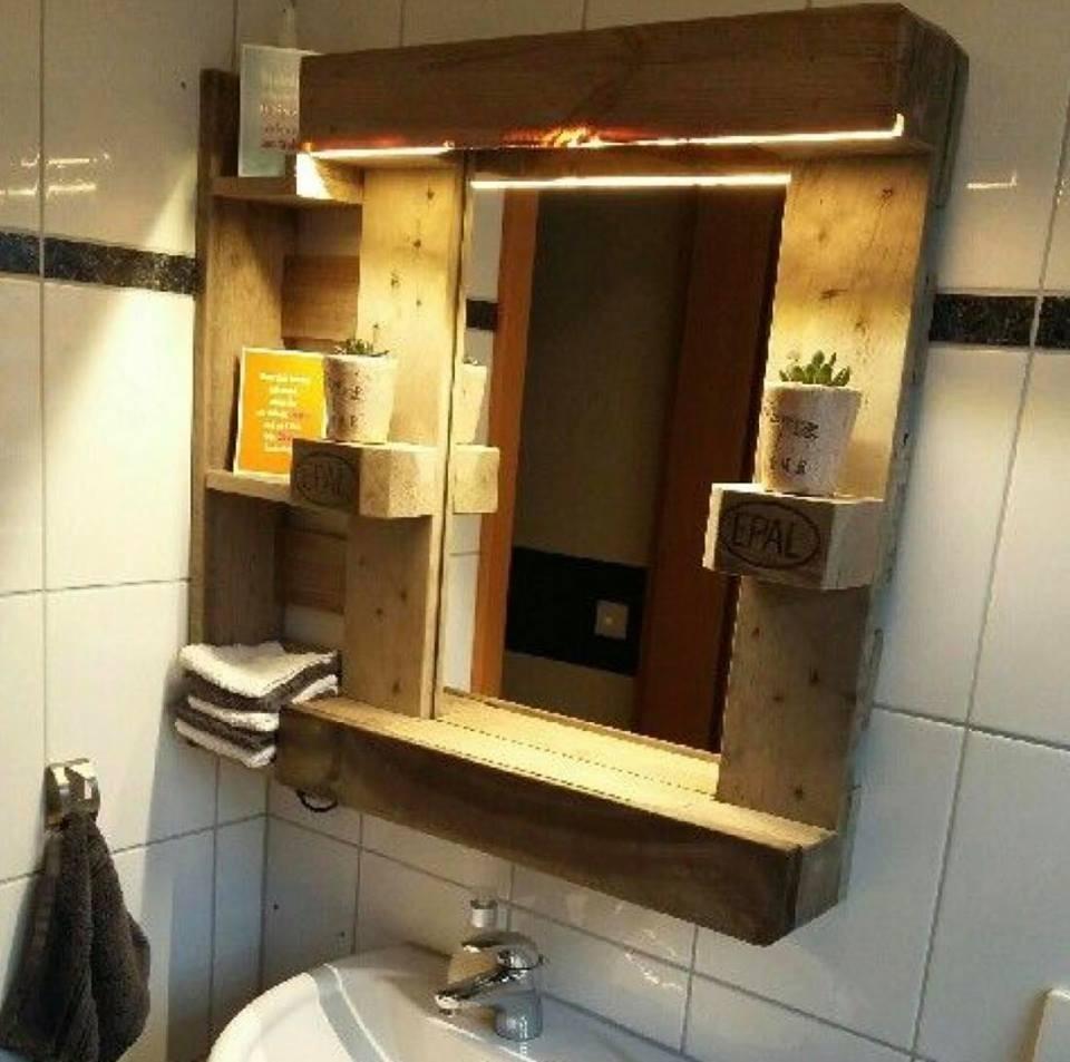 Espejos y botiquines de ba o rustico madera pallet 3 for Espejos de bano rusticos