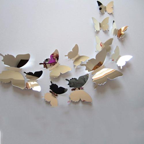 espelhado adesivo borboleta colorida 3d flexível decoração