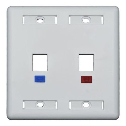 espelho 4x4 com 2 saídas fixo conector rj45 rj11 rede