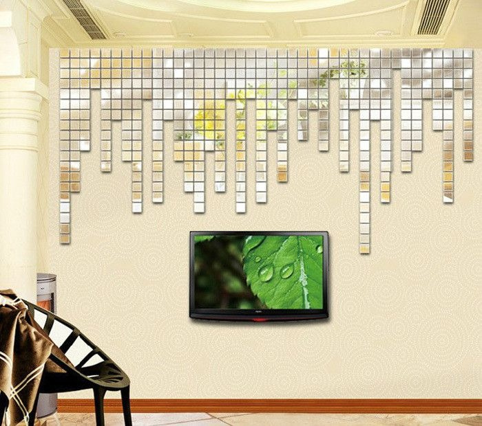 Espelho acr lico adesivos de parede 3d 100 pcs 2x2cm for Mosaico adesivo 3d