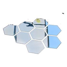 Espelho Acrilico Decorativo Hexagono 8 Pcs 12x10cm