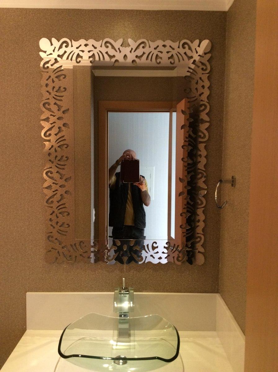 Espelho Bisote Decorado Para Banheiro  R$ 550,00 em Mercado Livre -> Banheiro Decorado Espelho