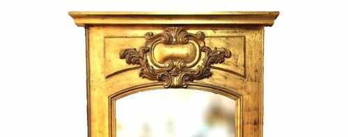 espelho clássico moldura em madeira folheada a ouro
