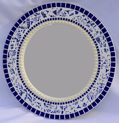 Espelho com mosaico cer mica pastilha e meia p rola r for Mosaico ceramica
