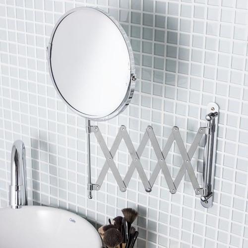 espelho de aumento 5x barbear camarim sanfonado extensivel