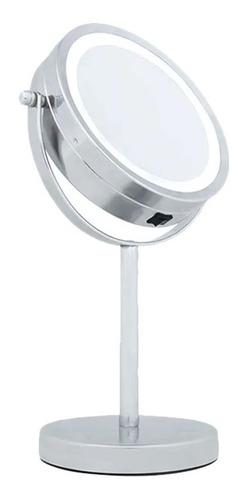 espelho de aumento c/ luz de led dupla face e suporte mor