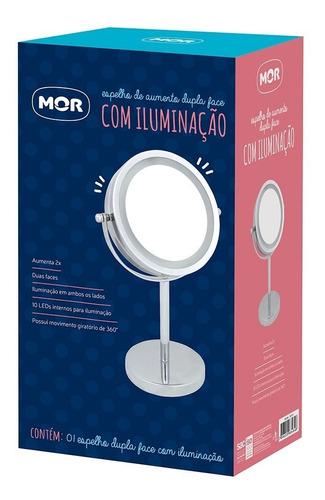 espelho de aumento dupla face com iluminação mor full