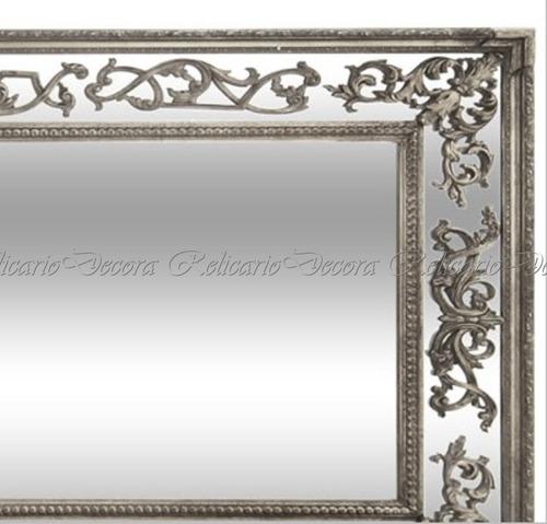 espelho de cristal comprido design classico prateado belissi