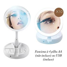 Espelho De Luz Led Dobravel Aumenta 10x Maquiagem Portátil A