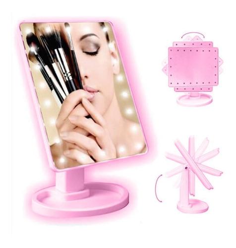 espelho de mesa portátil touch screen com 22 leds