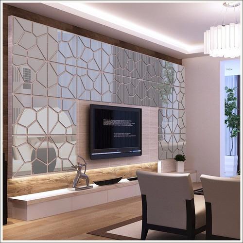 espelho de parede para sala design geométrico 49cm x 2,04mt