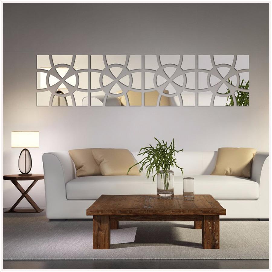Espelho De Parede Para Sala Modelo Círculo Mosaico 202x49 Cm