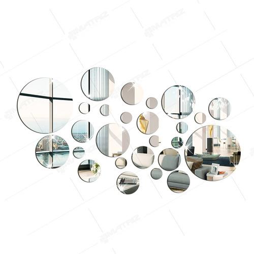 espelho decorativo acrilico bolas círculos 27 peças p20