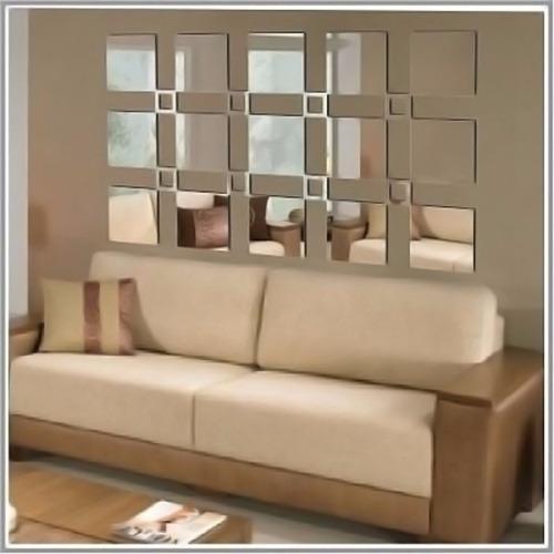 espelho decorativo acrílico quadrados sala quarto 25 peças