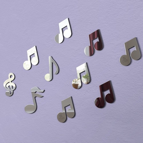espelho decorativo cifras notas musicais kit 10pç 10cm