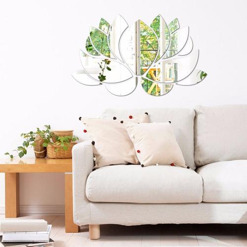 espelho decorativo em acrílico flor de lotus 80 x 50 cm