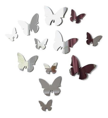 espelho decorativo enfeite borboletas kit 12pç sala casa