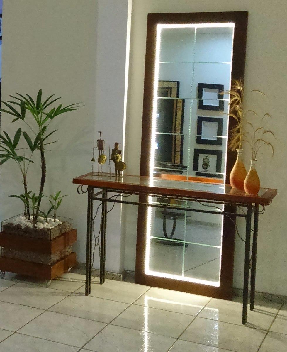 Artesanato Rio Das Ostras ~ Espelho Grande C Iluminaç u00e3o + Aparador + Cachepot
