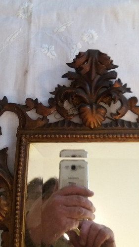 espelho italiano com vidro bisote e moldura entalhada