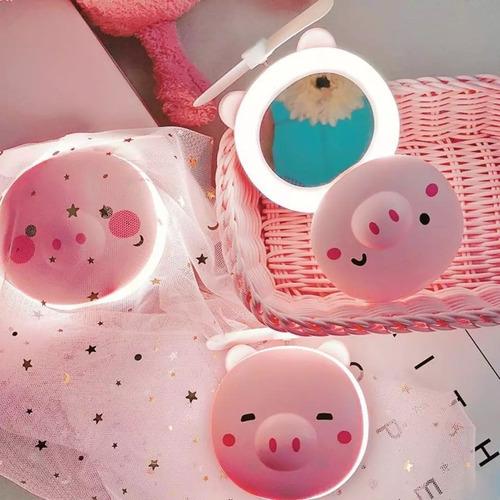 espelho led para maquiagem portátil c/ventilador porquinho
