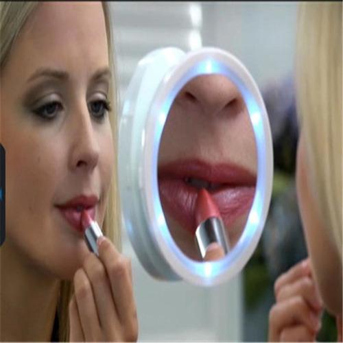 espelho maquiagem lupa aumento 8x luz led rotacao banheiro