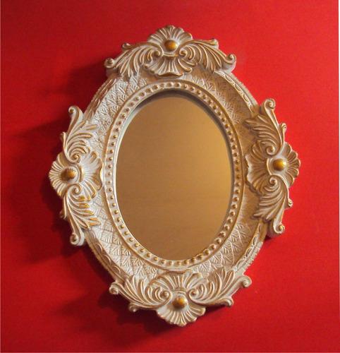 espelho moldura oval, pintada.