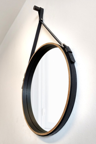 espelho redondo adnet decorativo madeira 43cm couro preto