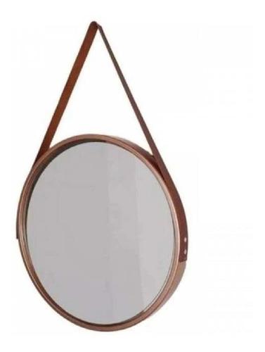 espelho redondo decorativo adnet alça couro 45 cm parede