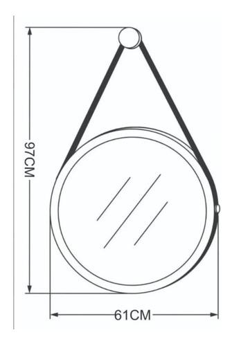 espelho redondo decorativo com alça 60cm ø - cor preto