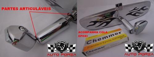 espelho retrovisor interno inox flames opala fusca hot rod