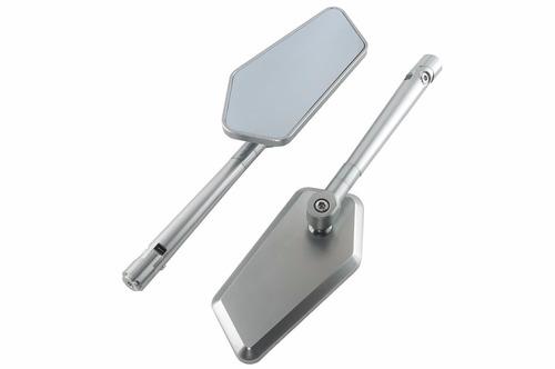 espelho retrovisor personalizado moto prata circuit  ys 150