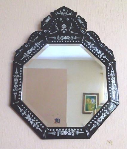 espelho veneziano  preto  importado ( m059 )