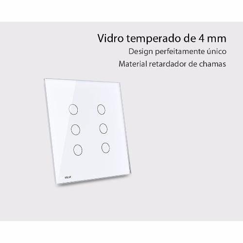 espelho vidro temperado interruptor livolo 6 vias branco