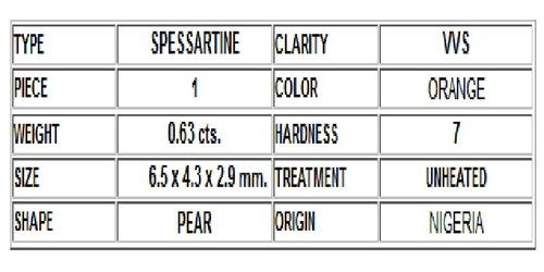 espesartina - corte pera-  6.5 x 4.3 x 2.9mm- 0.63ct natural