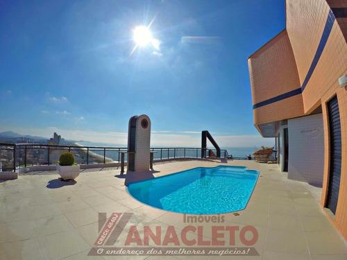 espetacular cobertura mobiliada, 524 m² frente mar!!!!