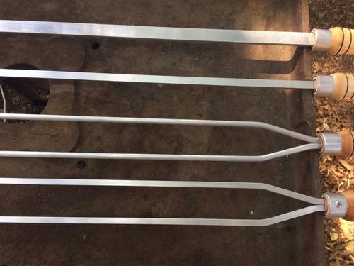 espeto aluminio  churrasco kit 10 unid (lamina 70cm cabo 15)