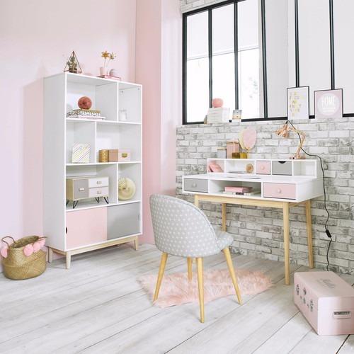 espiegle escritorio con modulo superior en tonos pasteles