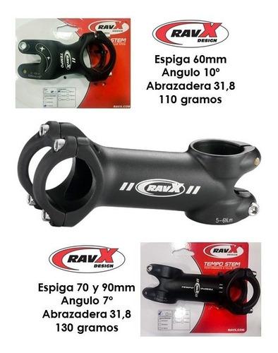 espiga ravx 31.8 aluminio bicicleta mtb ruta 70 / 80 / 90mm