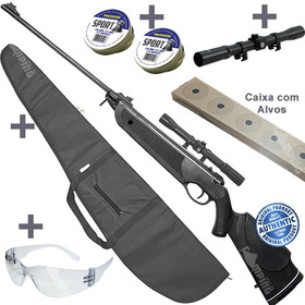 Espingarda Chumbinho 5.5 Rifle Pressão +luneta +capa +chumbi