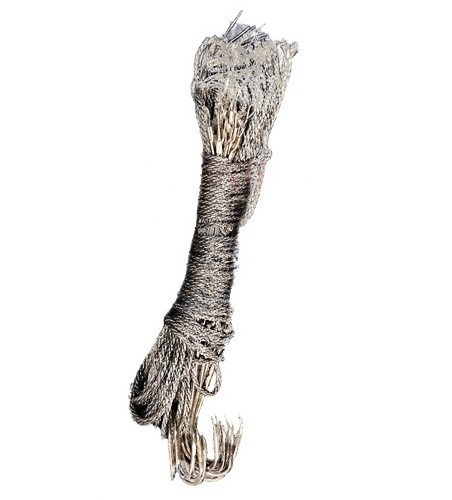 espinhel completo p/pesca. corda de seda. c/ 21 anzóis n;1/0