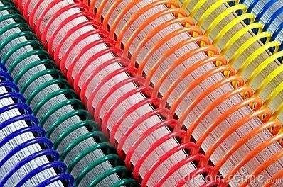 espirais para encadernação de espiral colorido 9mm 50 folhas