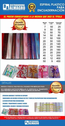 espirales plasticos para encuadernacion nº 12 pte. x 50 uni.