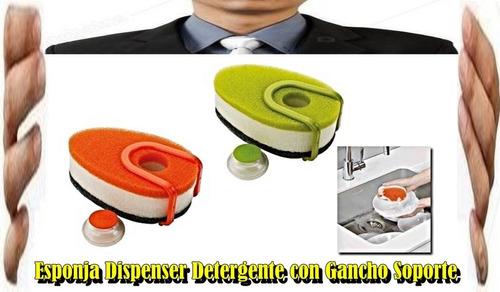 esponja con capsula dispenser d/detergente c/gancho soporte