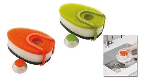 esponja dispenser detergente kit x 3 con gancho soporte